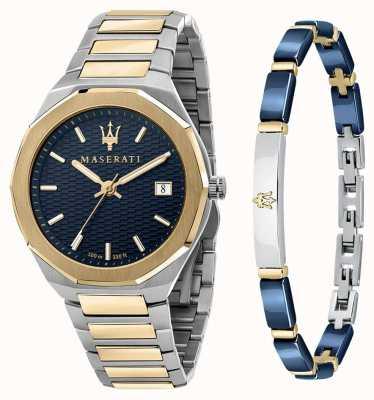 Maserati Stile 3H Men's Gift Set Watch and Bracelet R8853142008