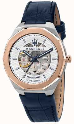 Maserati Men's Stile Automatic | Blue Leather Strap | Silver Skeleton Dial R8821142001
