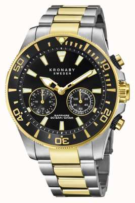 Kronaby Diver Collection | Bluetooth | Black Dial | Two Tone Steel S3779/2