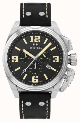 TW Steel Canteen Chronograph Black Leather Strap TW1011