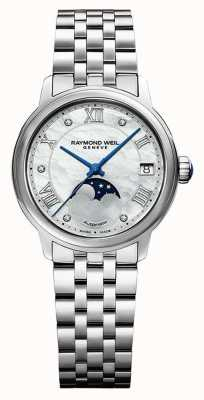 Raymond Weil Women's   Maestro   Auto   Moonphase   Mother Of Pearl Dial   Stainless Steel 2139-ST-00965