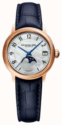 Raymond Weil Women's   Maestro   Auto   Moonphase   Mother Of Pearl Dial   Blue Leather Strap 2139-P53-05909