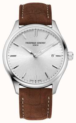 Frederique Constant Classics Quartz | Brown Leather Strap | Silver Dial FC-220SS5B6