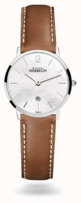 Michel Herbelin City Mother of Pearl Brown Leather Strap 16915/19GON