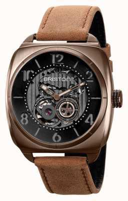 Briston Clubmaster Skeleton Khaki PVD Watch 211042.SPK.SK.5.BR