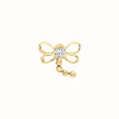 James Moore TH 9ct Yellow Gold Cubic Zirconia Dragon Fly Cartilage ES974