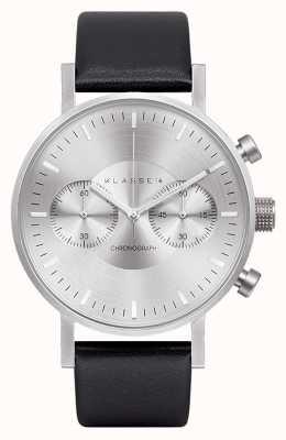 Klasse14 Chronograph Silver Dial Black Leather Strap VO15CH001M
