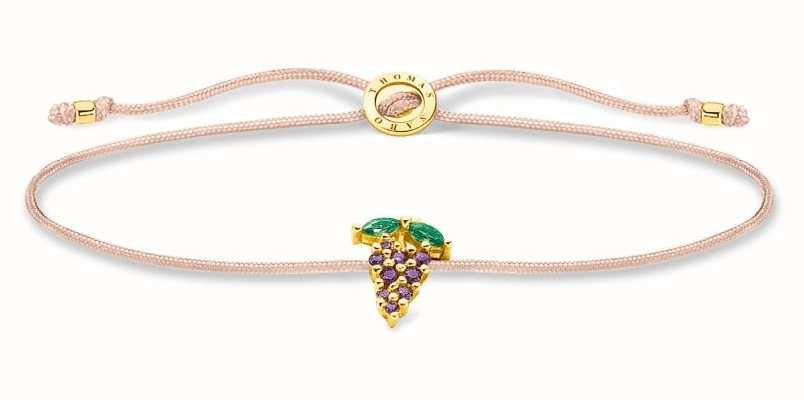 Thomas Sabo Little Secrets   Fawn Coloured Nylon Bracelet   Grape Charm LS127-472-7-L20V