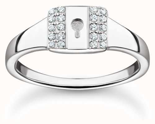 Thomas Sabo Sterling Silver Ring 'Lock' White Stones | UK N TR2372-051-14-54