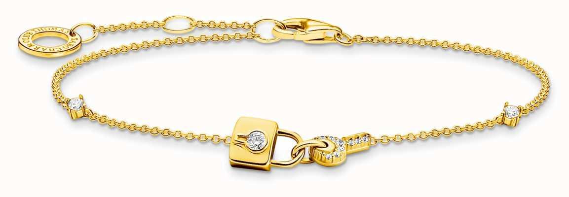 Thomas Sabo 18K Gold Plated Sterling Silver | Padlock And Key Charm Bracelet A2040-414-14-L19V