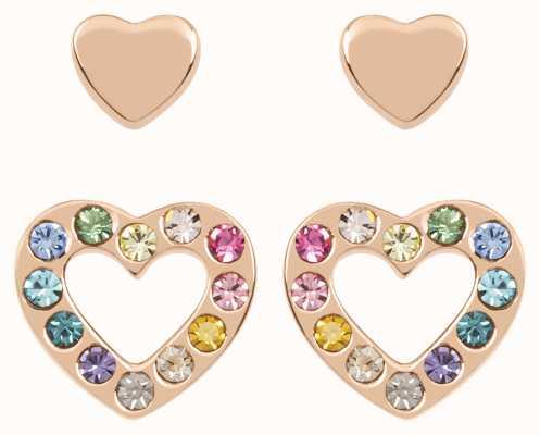 Radley Jewellery Love Radley | Rose Gold Plated Hearts Stud Earrings Set | Multicoloured Stones RYJ1176
