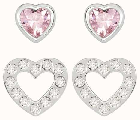 Radley Jewellery Love Radley | Sterling Silver Hearts Stud Earring Set | White And Pink Stones RYJ1177