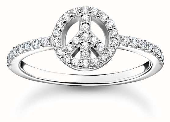 Thomas Sabo Sterling Silver Peace Symbol Ring | White Stones | UK N TR2373-051-14-54