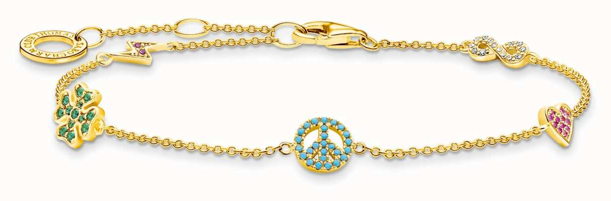 Thomas Sabo Sterling Silver 18K Yellow Gold Plated Colour Powerful Symbols Bracelet A2039-488-7-L19V