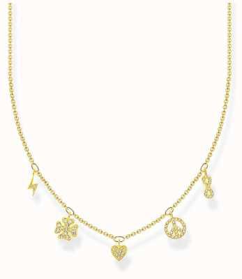 Thomas Sabo Charm Club   Gold Plated Sterling Silver   Symbols   Necklace KE2123-414-14-L42V