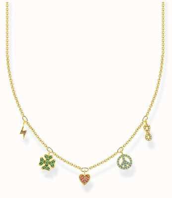 Thomas Sabo Charm Club   Gold Plated Sterling Silver   Multi coloured Symbols   Necklace KE2123-488-7-L42V