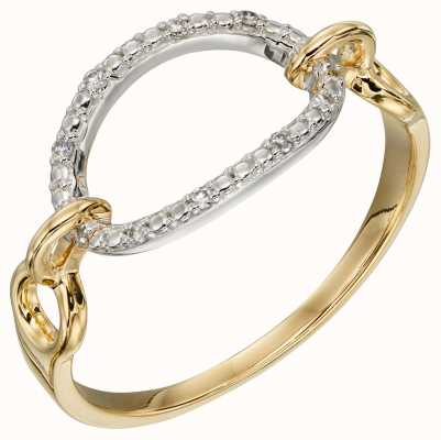 Elements Gold 9ct Yellow gold Diamond Open Oval Loop Ring GR584