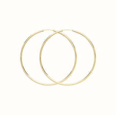 James Moore TH Women's 9ct Yellow Gold 35mm Sleeper Hoops ES116