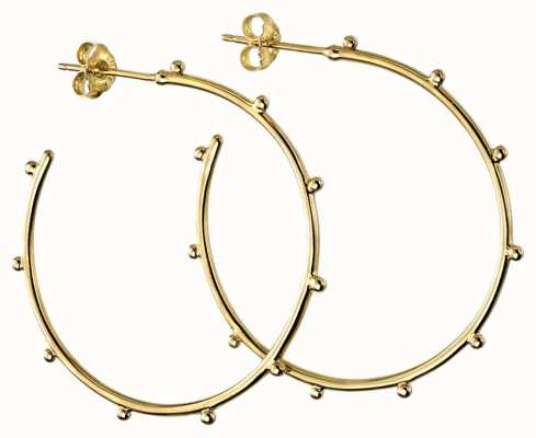 Elements Silver Silver Gold Plated Stud Hoops 34mm E5859