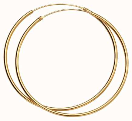 Elements Silver Silver Gold Plated 50mm Hoop Earrings H243