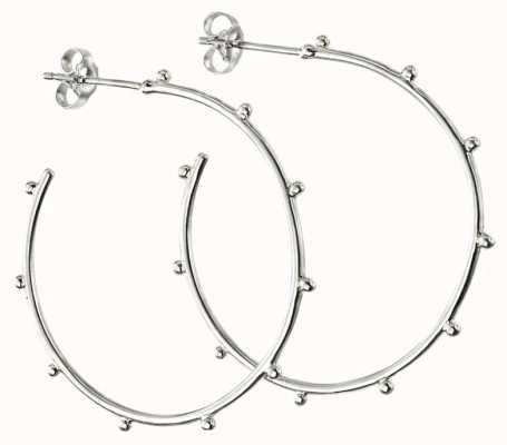Elements Silver Sterling Silver Studded 34mm Hoops E5863