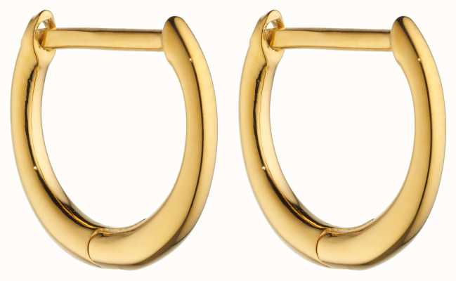 Elements Silver Gold Plated Click Huggie Hoops E6048