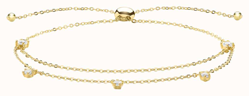 James Moore TH 9ct Yellow Gold Cubic Zirconia Double Chain Pull Bracelet BR633