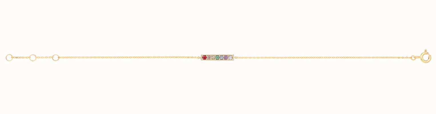James Moore TH 9ct Yellow Gold Rainbow Bar Bracelet BR657