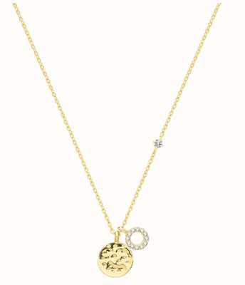 James Moore TH 9ct Yellow Gold Disc Cubic Zirconia Necklace NK384