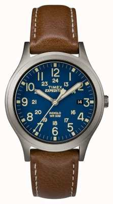 Timex Men's Expedition Scout Blue Dial Brown Leather Strap Watch TW4B11100