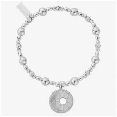 ChloBo Midnight Gaze Silver Beaded Disc Charm Bracelet 18cm SBMDR3174