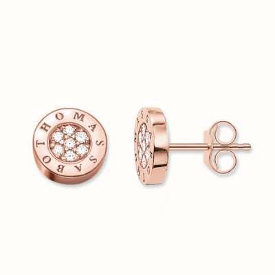 Thomas Sabo Earstuds White 925 Sterling Silver Gold Plated Rose Gold/ Zirconia H1820-416-14
