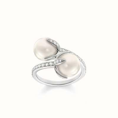 Thomas Sabo Ring White 925 Sterling Silver/ Freshwater Pearl/ Zirconia TR2079-167-14-54